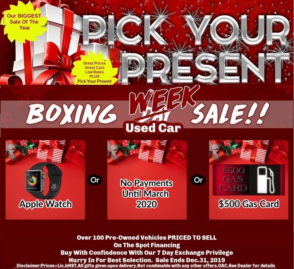 Pick Your Present Boxing Day Used Car Sales Old Mill GM