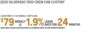 LEASE A CUSTOM CREW CAB FOR $158 BI-WEEKLY, THAT'S LIKE $79 WEEKLY AT 1.9% FOR 24 MONTHS WITH $3,350 DOWN PAYMENT