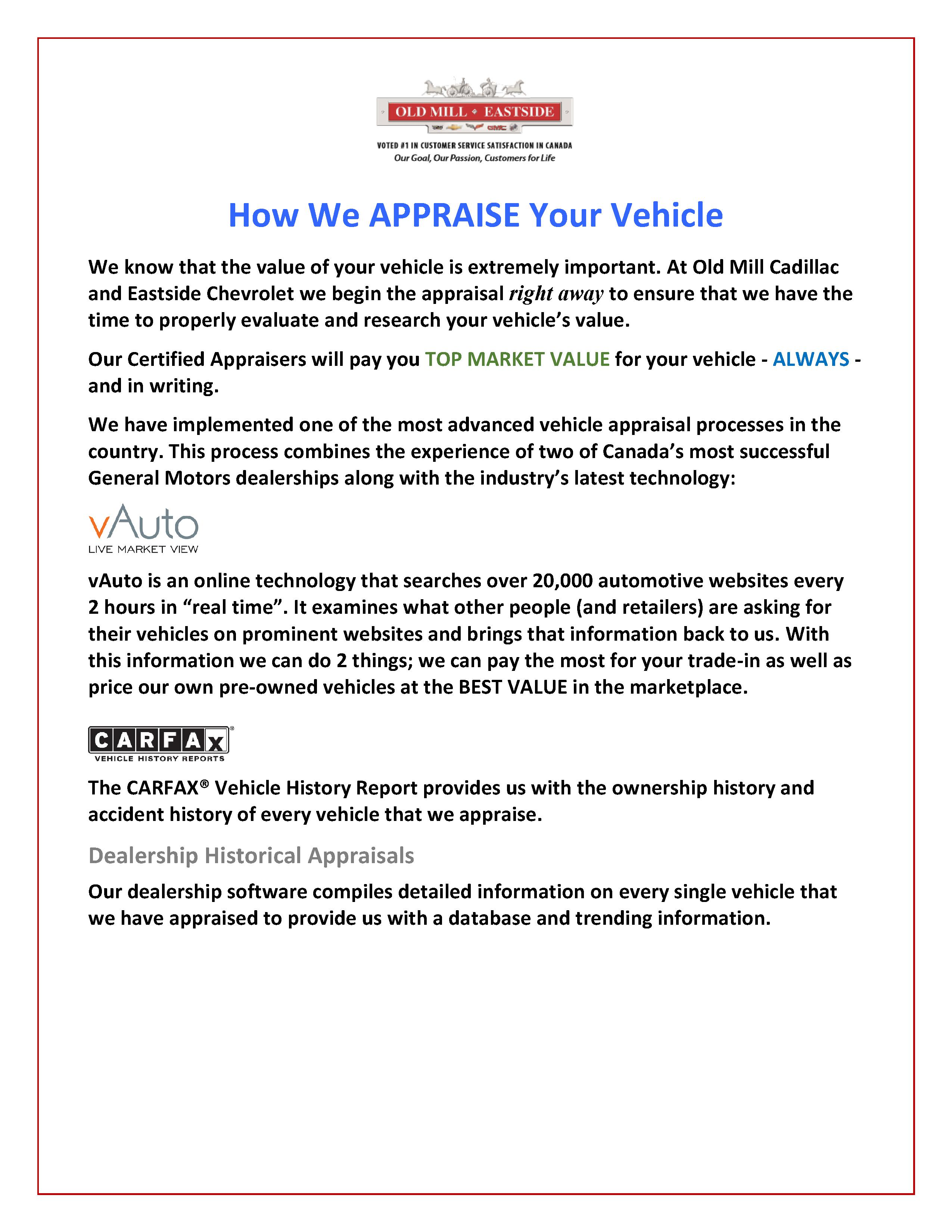 How We Appraise Your Vehicle