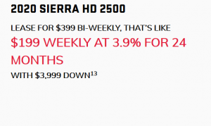 2020_GMC_Sierra_HD_2500 $199 WEEKLY AT 3.9% FOR 24 MONTHS WITH $3,999 DOWN