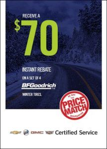 Receive a $70 instant rebate on a set of 4 BF Goodrich tires Old Mill GM Toronto